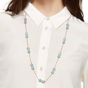 Kate Spade Turquoise enamel gold chain necklace